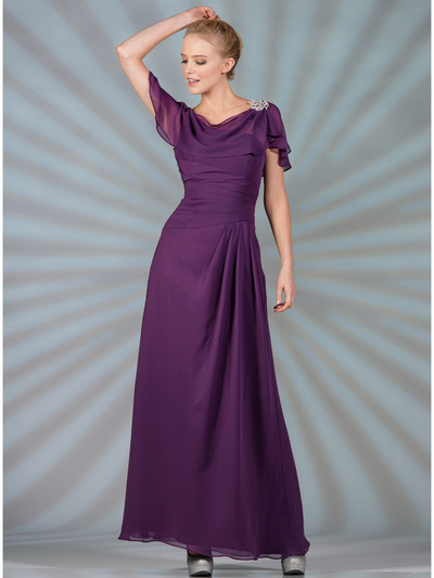 C1299 Chiffon Sleeves Evening Dress - Eggplant, Front View Medium