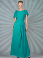 C1299 Chiffon Sleeves Evening Dress - Jade, Front View Thumbnail