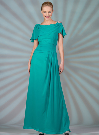 C1299 Chiffon Sleeves Evening Dress - Jade, Front View Medium