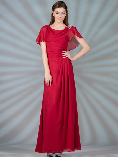 C1299 Chiffon Sleeves Evening Dress - Red, Front View Medium