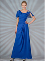 C1299 Chiffon Sleeves Evening Dress - Coral, Front View Thumbnail