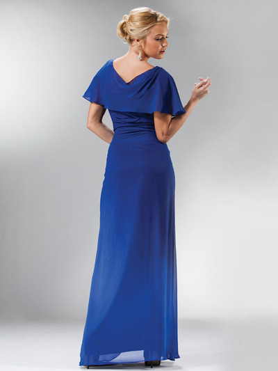 C1299 Drape Shoulder Flutter Sleeve Chiffon Evening Dress - Royal, Back View Medium