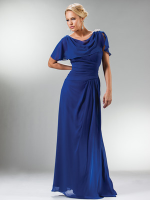 C1299 Drape Shoulder Flutter Sleeve Chiffon Evening Dress, Royal
