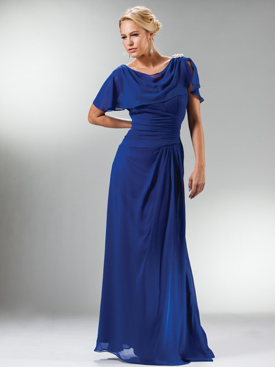 C1299 Drape Shoulder Flutter Sleeve Chiffon Evening Dress - Royal, Front View Medium