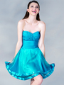 C1360 Pleated Cocktail Dress - Blue, Front View Thumbnail
