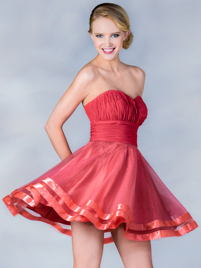 C1360 Pleated Cocktail Dress - Coral, Front View Medium