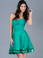 C1360 Pleated Cocktail Dress - Jade, Front View Thumbnail