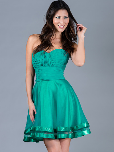 C1360 Pleated Cocktail Dress - Jade, Front View Medium