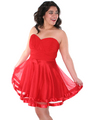C1360 Pleated Cocktail Dress - Red, Front View Thumbnail