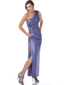 Purple One Shoulder Jewel Strap Evening Dress with Slit - Front Image