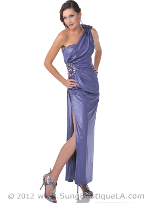 One Shoulder Jewel Strap Evening Dress with Slit - Front Image