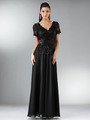 C1452 Embellished Short Sleeve Chiffon MOB Dress - Black, Front View Thumbnail