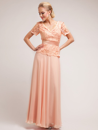 C1452 Embellished Short Sleeve Chiffon MOB Dress - Champagne, Front View Medium