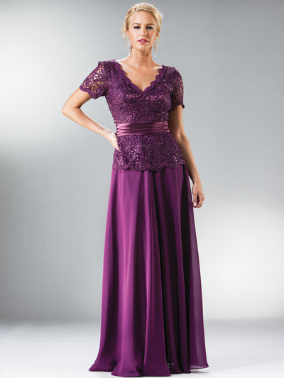 C1452 Embellished Short Sleeve Chiffon MOB Dress - Eggplant, Front View Medium
