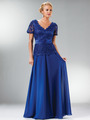 C1452 Embellished Short Sleeve Chiffon MOB Dress - Royal, Front View Thumbnail