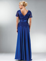 C1452 Embellished Short Sleeve Chiffon MOB Dress - Royal, Back View Thumbnail