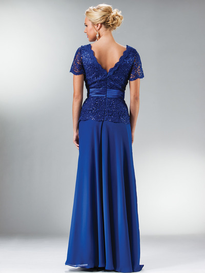 C1452 Embellished Short Sleeve Chiffon MOB Dress - Royal, Back View Medium
