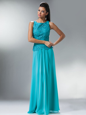 C1453 Embellished Bodice Chiffon Evening Dress, Aqua