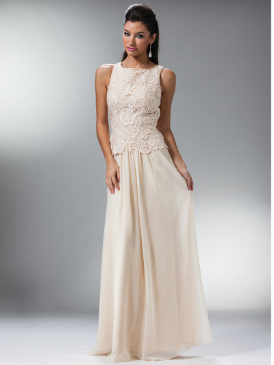 C1453 Embellished Bodice Chiffon Evening Dress - Champagne, Front View Medium