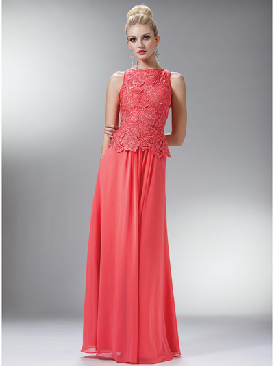 C1453 Embellished Bodice Chiffon Evening Dress - Coral, Front View Medium