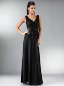 C1455 Rosette Trim Embellished Chiffon MOB Evening Dress, Black
