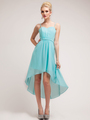 C1458 Spaghetti Straps High-Low Cocktail Dress - Aqua, Front View Thumbnail