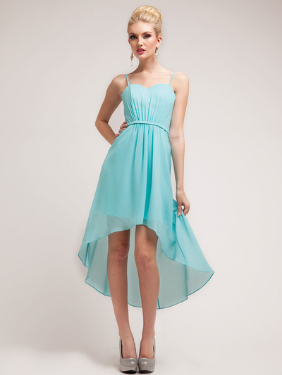C1458 Spaghetti Straps High-Low Cocktail Dress - Aqua, Front View Medium