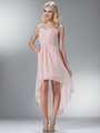 C1458 Spaghetti Straps High-Low Cocktail Dress - Blush, Front View Thumbnail