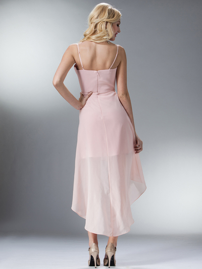 C1458 Spaghetti Straps High-Low Cocktail Dress - Blush, Back View Medium