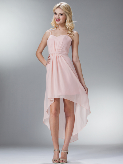 C1458 Spaghetti Straps High-Low Cocktail Dress - Blush, Front View Medium