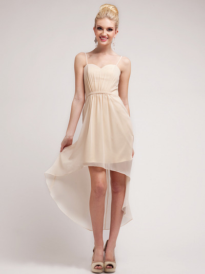 C1458 Spaghetti Straps High-Low Cocktail Dress - Champagne, Front View Medium