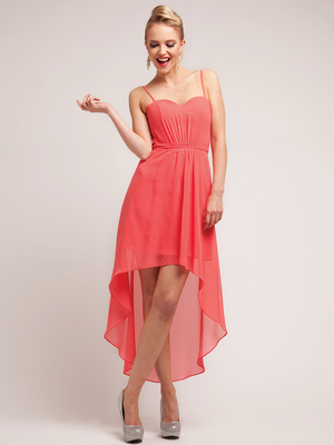 C1458 Spaghetti Straps High-Low Cocktail Dress, Coral