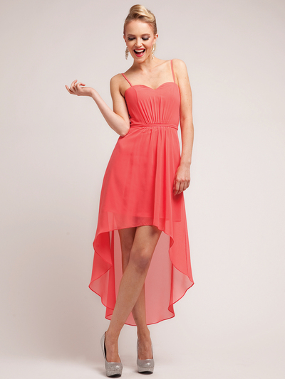 C1458 Spaghetti Straps High-Low Cocktail Dress - Coral, Front View Medium