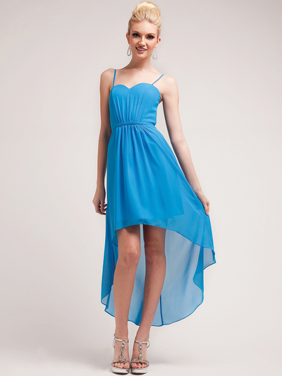 C1458 Spaghetti Straps High-Low Cocktail Dress - Ocean Blue, Front View Medium