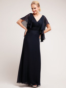 C1459 V neck chiffon A line Evening Dress, Black