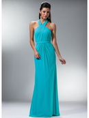 Cross Halter Open Back Evening Dress