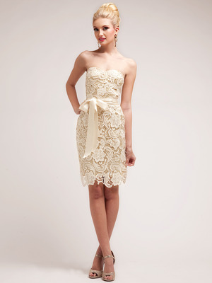 C1467 Strapless Sweetheart Lace Ovelay Cocktail Dress, Gold