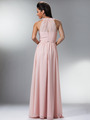 C1469 Illusion Evening Dress - Blush, Back View Thumbnail
