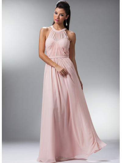 C1469 Illusion Evening Dress - Blush, Front View Medium