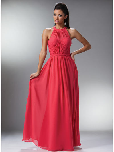 C1469 Illusion Evening Dress - Coral, Front View Medium