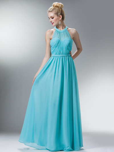 C1469 Illusion Evening Dress - Mint, Front View Medium