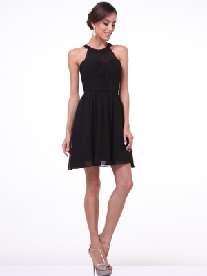 C1470 Shoulder Baring Cocktail Dress, Black