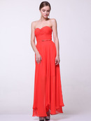 C1472 Strapless Pleated Sweetheart Evening Dress, Tangerine