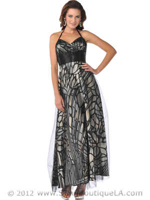 Halter Lace Overlay Print Evening Dress with Beaded Empire Waist - Front Image