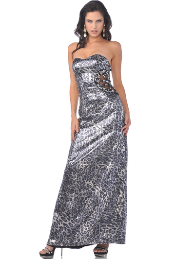 C1536 Strapless Dazzling Leopard Print Evening Dress - Print, Front View Medium