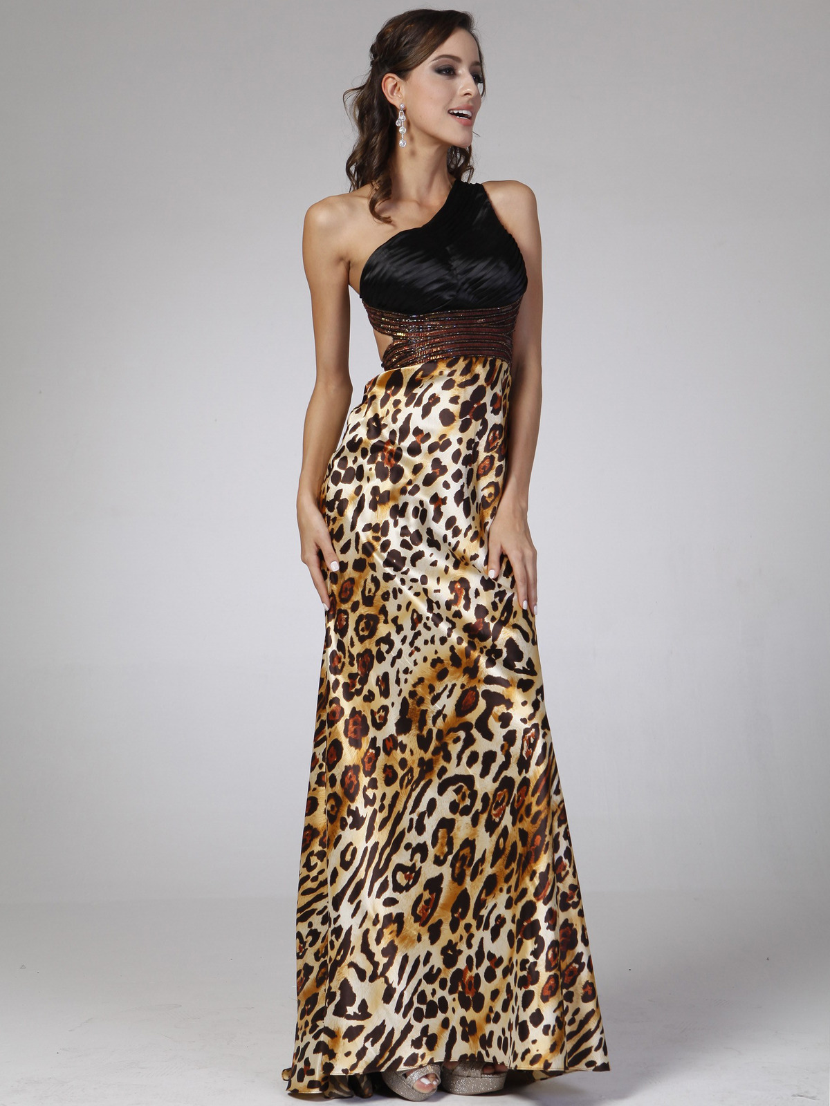 One Shoulder Animal Print Evening Dress Sung Boutique La