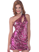Fuschia One Shoulder Sequin Party Dress with Keyhole