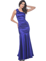 C1730 Vintage Evening Dress with Flare Hem - Purple, Front View Thumbnail