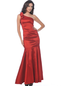 C1730 Vintage Evening Dress with Flare Hem, Red