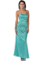 Mint Strapless Bead and Sequin Lace Overlay Evening Dress - Front Image